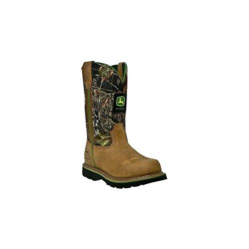 John Deere Mens Tan Leather 11in Pull On Camo Steel Toe Cowboy Work Boots 11 W (John Deere Wellington Boots Mens)