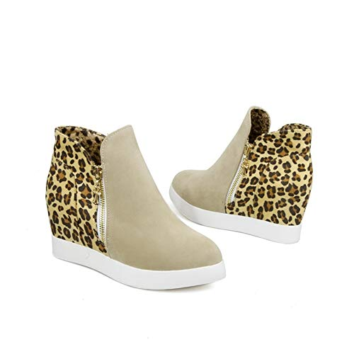 Ms. Lily Women Fashion Wedges Ankle Boots Winter Fur Lining Leopard Print Side Zipper Snow Boots(Apricot 7)