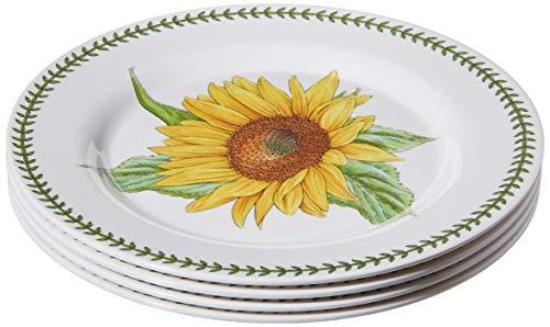 """Portmeirion 616035 Botanic Garden Set of 4 Melamine Dinner Plates, 11"""", White"""