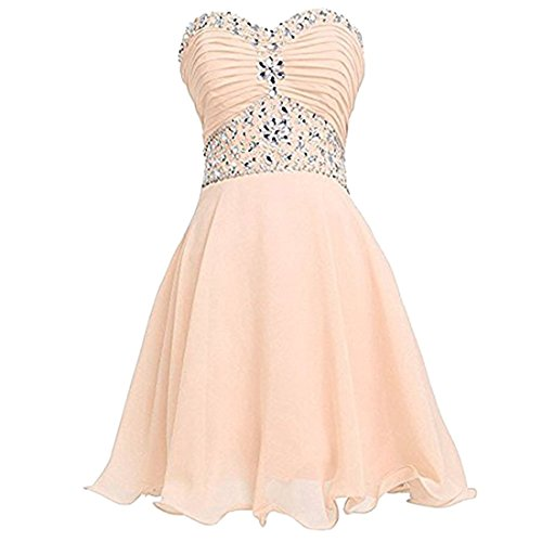 QIYUN.Z Sweetheart A-Line Vestido De Dama De Honor Juniors Homecoming Partido Vestido Sin Tirantes Tubo Dorado Champagne