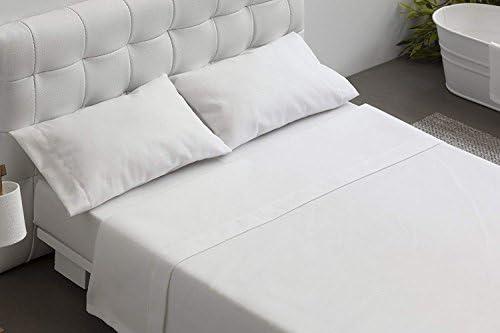 Burrito Blanco Juego de Sábanas Blancas Hotel Lisas de Algodón 100% para Cama de Matrimonio de 135x190 cm hasta 135x200 cm (Disponible en más Medidas): Amazon.es: Hogar