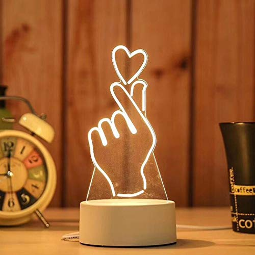 Tel Usb - TelDen 3D Acrylic LED Night Light Table Desk Lamp with USB Cable Warm White