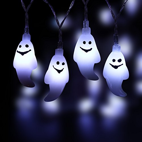 Halloween Lights - Halloween String Lights, YUNLIGHTS 14.7ft 40 LED Waterproof Ghost Light with 8 Modes, Battery Powered (Cool White)