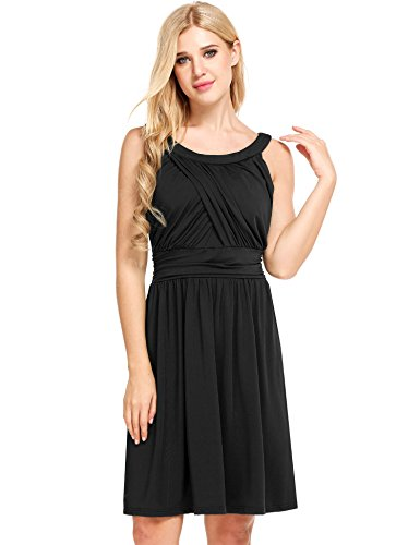 Beyove Women's O Neck Casual Vintage Solid Crossover Classy Summer Cocktail Swing Party Dress ()