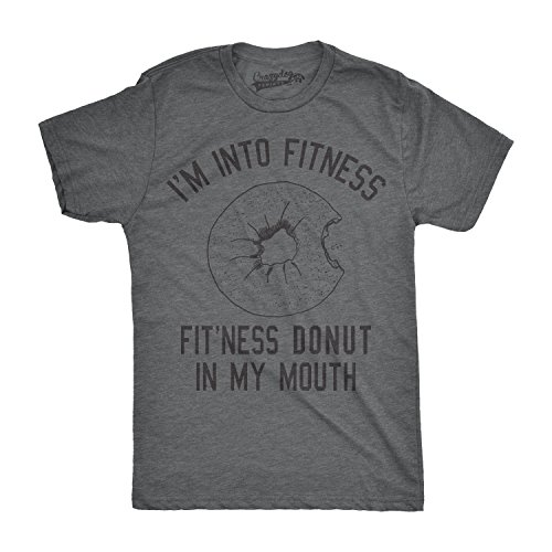 Mens Fitness Donut in My Mouth Tshirt Funny Food Tee for...
