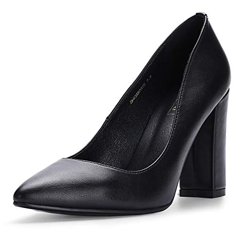 IDIFU Women's IN4 Chunky-HI Classic Closed Pointed Toe Pumps High Chunky Block Heels Dress Office Shoes (Black Pu, 6.5 M US)
