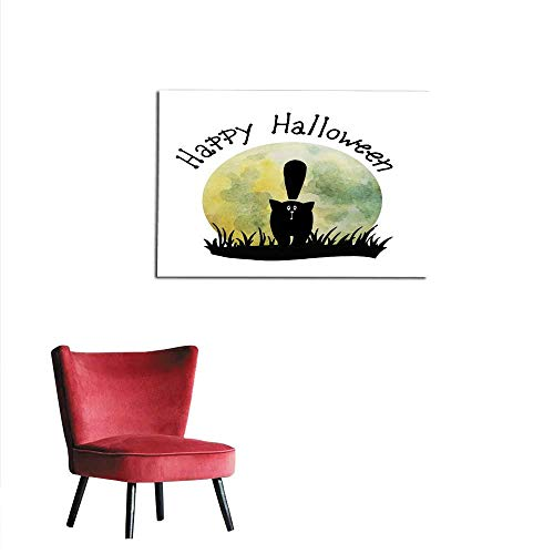 homehot Wall Paper Halloween Card Happy cat Hand Drawn Watercolor Illustration Mural 48