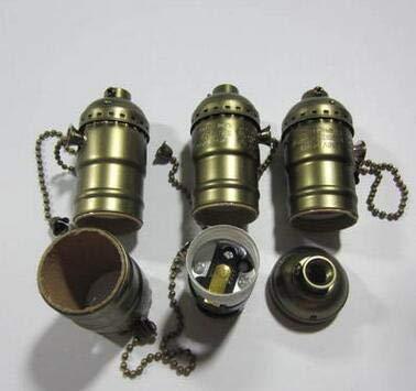 Kamas New E27 Aluminum Retro Antique Vintage LED Light Lamp Bulb Holder Socket Fitting Shade Lamp Bases Zipper Knob Lamp Cap - (Color: zipper, Base Type: Gold)