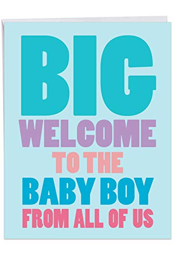 - Big New Baby Boy - Newborn Boy Greeting Card with Envelope (Big 8.5 x 11 Inch) - Congratulations Note in Big, Bold Letters - Baby Shower Gift, Congrats Card From All of Us J6854BBG-US