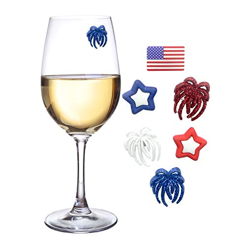 Patriotic Decorations for Your Wine Glass - 6 Magnetic Drink Markers or Charms Great for Summer Celebrations or BBQs by Simply Charmed