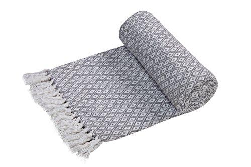 EHC Tagesdecke Decke Super Weiche Baumwolle Große wendbar Double Sofa überwürfen Bett Stuhl Bezug 150x 200cm, grau