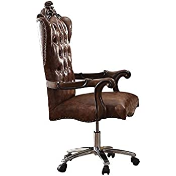 Amazon Com Acme Versailles Light Brown Faux Leather Chair