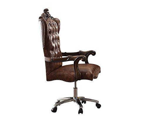 (ACME Versailles Light Brown Faux Leather Chair with Swivel and Lift)