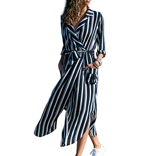 (ballboU-Women Long Sleeve Notched Lapel Collar V-Neck Belted High Waist Split Vertical Stripes Floral Maxi Blouse Dress)