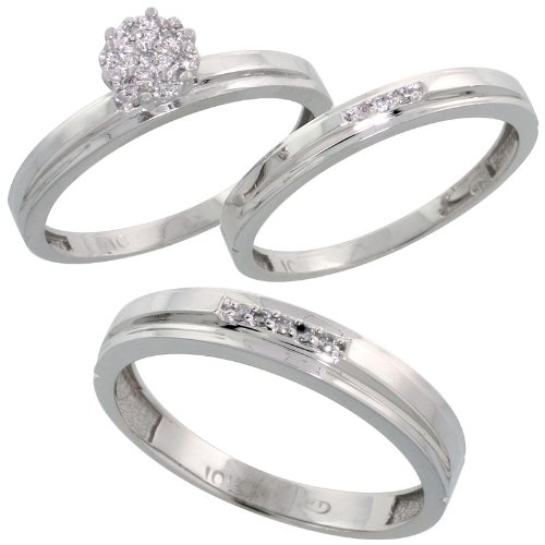 10k White Gold Diamond Trio Engagement Wedding Ring Set for Him 4mm and Her 3 mm 3-piece 0.10 cttw Brilliant Cut, Ladies Size 6.5 (Wedding Rings Trio For Her)