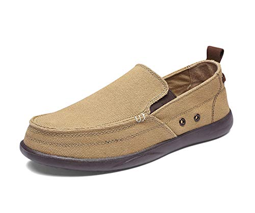 BEFAiR Lightweight Slip On Canvas Shoes Vintage Comfort Casual Loafers Breathable Boat Shoes for Men (13 D(M) US, Dark (Khaki Canvas Footwear)