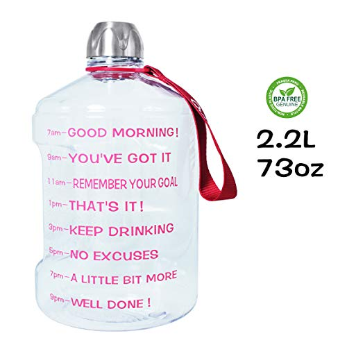 QuiFit 2.2l/73oz Water Bottle Reusable Leak-Proof Drinking Water Jug for Outdoor Camping BPA Free Plastic Sports Water Bottle with Daily Time Marked (Clear+Pink)