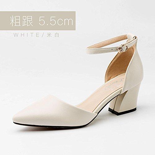 Mujer Huecos Altos Tacones Hebilla Jqdyl Primavera con Zapatos Baotou Zapatos Beige A con Tacones Nuevos Grueso de de Beibai PSZIq7
