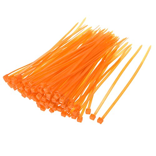 uxcell Nylon Cable Ties 4 Inch Self-Locking Zip Ties 0.09 Inch Width Orange 500pcs