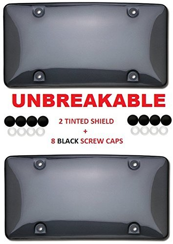 2 Tinted Smoke Shield For License Plate + 8 Black Screw Caps fits USA & CANADA STANDARD PLATES