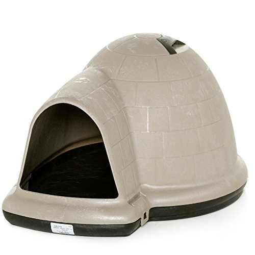 Most Popular Large Outdoor Dog House Shelter Kennel Weatherproof- Winter Cold Summer Heat Large Dog Pet (50-90 LBS)- Microban Interior Resists Stains Odors- Off-Set Entryway Wind Proof Roof Vent (Petmate Shelter)