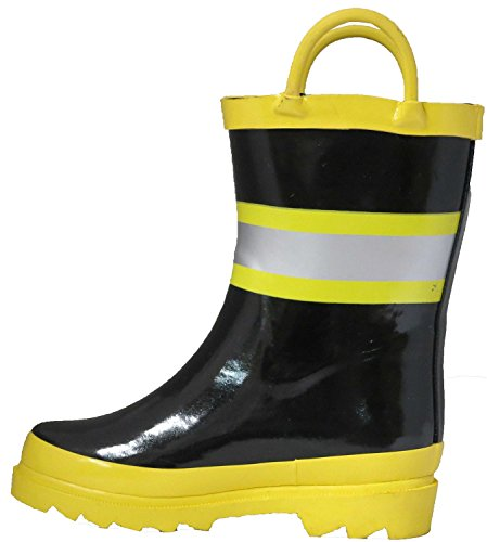 Pictures of Little Boy's Black Fire Chief Rain Black and Yellow 6