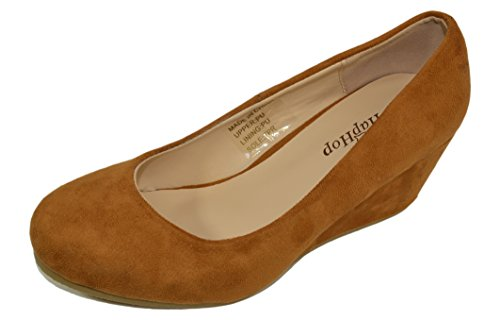 Haphop Pump Mid On Women's Slip Classic Almond Wedge Toe Shoes Heel Taupe rZr0Sq