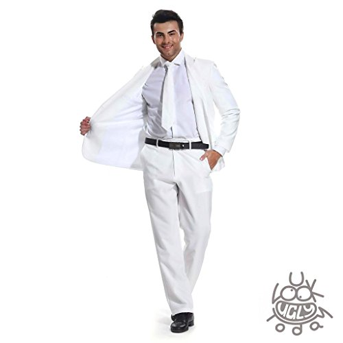 81ecbe621 U LOOK UGLY TODAY Mens Party Suit Solid Color Leisure Suit for Holiday Party  Jacket with Tie   Pants