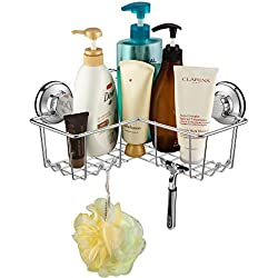 iPEGTOP Powerful Vacuum Suction Cup Corner Shower Caddy - Combo Organizer Basket Holder with 8 Hooks - Stainless Steel for Bathroom Storage