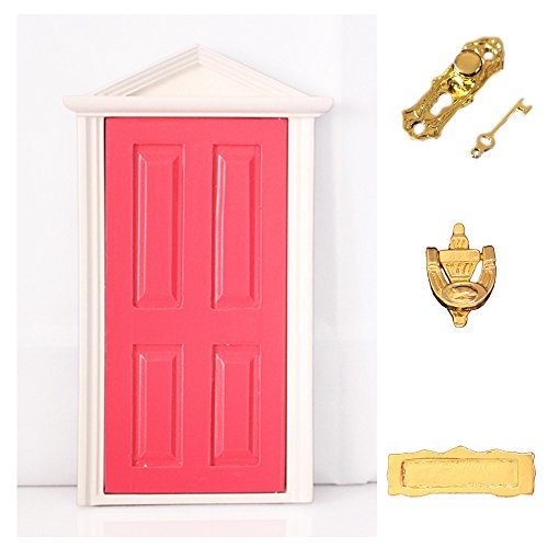 dreamflyingtech 1:12 Miniature Rose Red Wooden Fairy Dollhouse Door Steepletop with (Rose Fairy Doll)