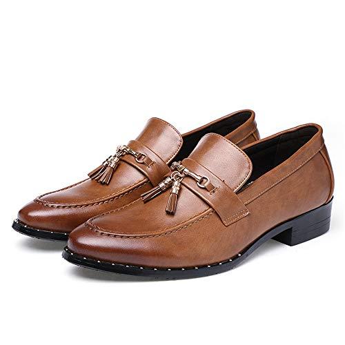 de Marrón de Color Plano EU los conducción tamaño de Hombre Oxfords Zapatos Zapatos 38 de Jusheng Hombres Cuero Marrón de tacón Genuino OSEAcp