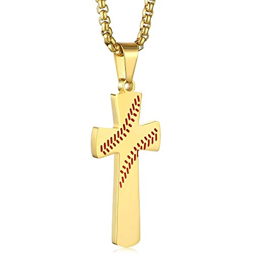 Boys Mens Baseball Cross Pendant Necklace 18K Gold Plated Bible Verse Stainless Steel Necklace Jewelry (A-Gold)]()