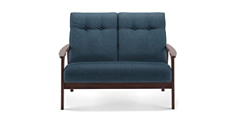 Urban Ladder Amos Wooden Sofa 2 Seater Colour Blue Amazon In Home