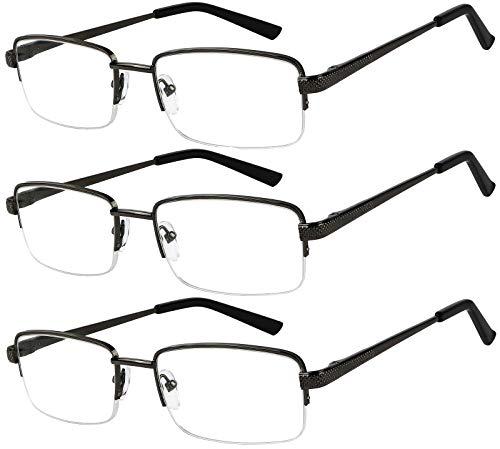 Reading Glasses Set of 3 Half Rim Black Metal Glasses for Reading Quality Spring Hinge Readers Men and Women +2.5 (Glass Of Rim A)