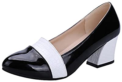T&Mates Womens Comfort Fashion Slip-on Low Cut Mid Chunky Heel Dress Dancing Party Pumps