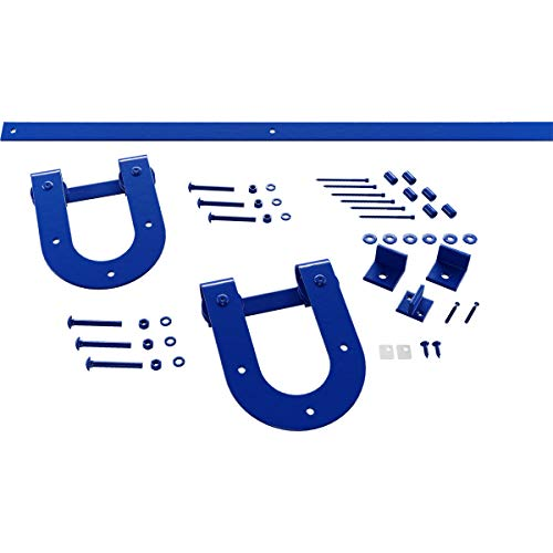 Goldberg Brothers Inc. GB60015H27BR Premium Horseshoe Set Barn Door Hardware, 7′ Track for 2 1/4″ Thick, Blue Ribbon