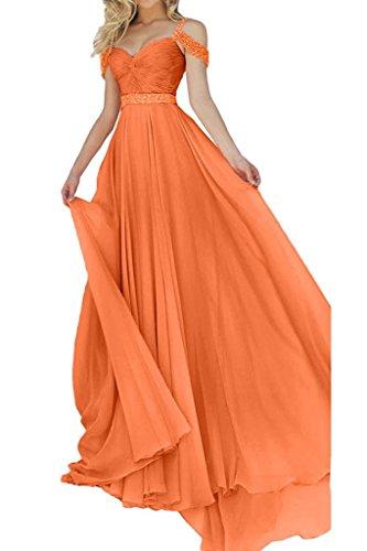 A Linie Chiffon Orange Weiss Damen Neu Lang Abendkleider Partykleider Langes Festlich Ballkleider Charmant Rock xW1qvzB