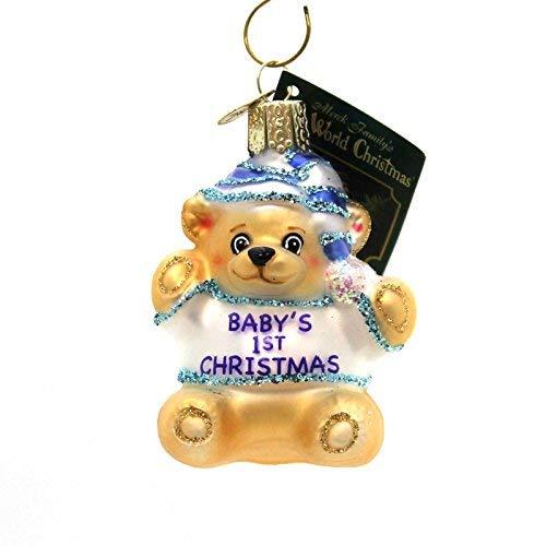 Old World Christmas BABYS 1ST TEDDY BEAR Glass Ornament 12065 Blue ()