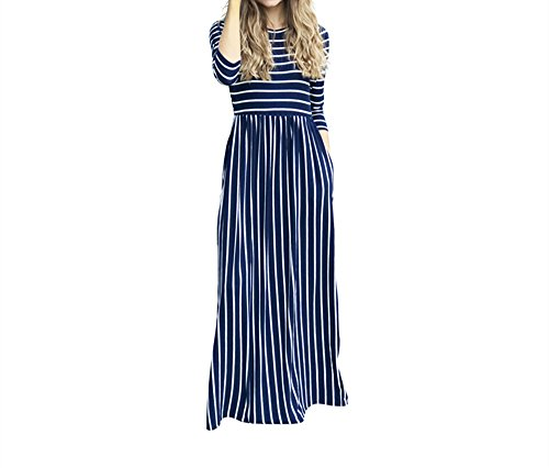 Xuan2Xuan3 Womens 3 4 Long Sleeve Stripe Print Loose Maxi Dresses Casual Long Dress With Pocket