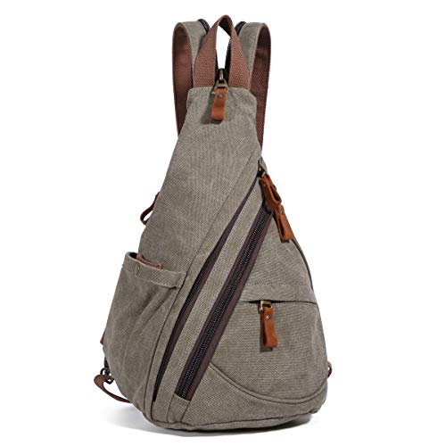 Canvas Sling Bag - Small Crossbody Backpack Shoulder Casual Daypack Chest Bags Rucksack for Men Women Outdoor Cycling Hiking Travel (6881-Olive Green)