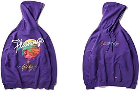 YDMZMS Herren Hoodie Stickerei-Rosa druckte Hoodies-Mann-beiläufige Baumwollmit Kapuze Sweatshirts männliche Art- und Weisehoodie-Oberseiten M Purpurrot
