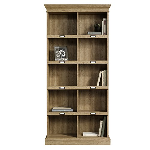 Home Office Tall Bookcase with Place for ID Label Tags, Sturdy and Durable Solid and Engineered Wood Construction, 10 Fixed Storage Cubes for Ample Storage and Display Space, Scribed Oak