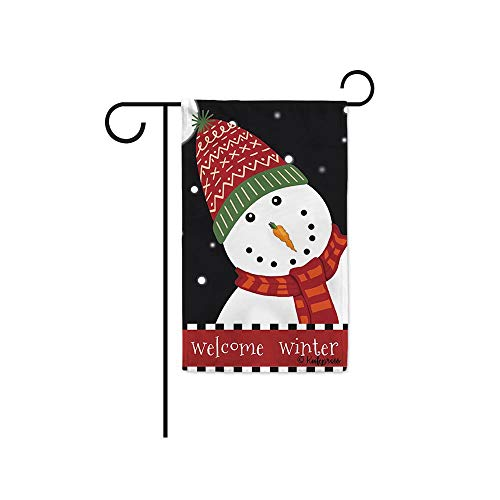 KafePross Welcome Winter Snow Decorative Garden Flag Cute Snowman in Hat and Scarf Home Decor Banner for OutSided 12.5