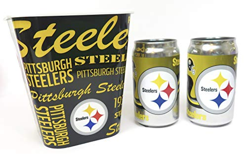 Pittsburgh Steelers, Chrome Can Solid Thick Glass Tumbler 12 oz, and a Ice Bucket.
