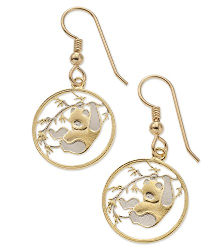 - Chinese Panda Bear Earrings, Chinese Coin Hand Cut, 14 K Gold and Rhodium Plated, 5/8
