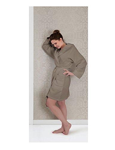 HnL badjas Albornoz Piqué 100% algodón corta gris plateado X-Large pardo