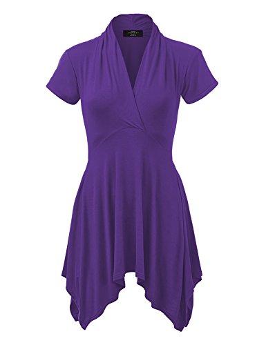 WT1120 Womens Cross V Neck Short Sleeve Empire Line Panel Tunic Top XL Dark_Purple (Tunic Top Tattoo)