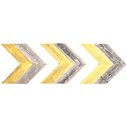 BarnwoodUSA Rustic Chevron Decorative Arrow Set of 3-100% Reclaimed Wood (Double Yellow Gray)