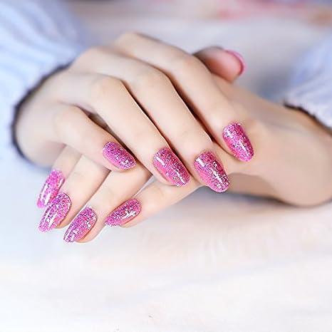 YUNAI uñas postizas - El atractiva y bonita y brillante Corto Tamaño Rose Red clavo falso para las mujeres: Amazon.es: Belleza