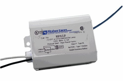 ROBERTSON 3P10054 Fluorescent mBallast for 1 CFT or CFQ13W/GX23 CFL Lamp, Pre-Heat Start, 120 Vac, 60Hz, Normal Ballast Factor, HPF, Model HPS1P BM (Crosses to 3M10065, Model HPS1P /B)